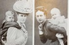 Queen of England with Duke of Cornwall, Queen Alexandra with her daughter